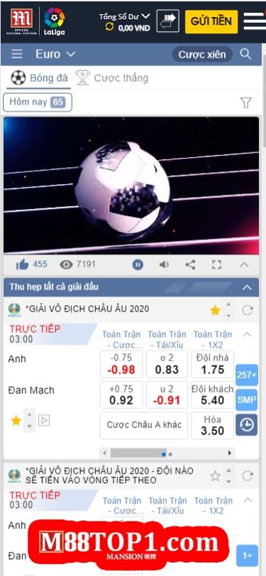 Cá cược và xem trực tiếp bóng đá miễn phí ở M88 Mobile App