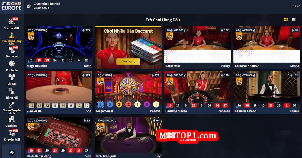 Casino trực tuyến uy tín, nhiều bàn chơi nhất tại M88
