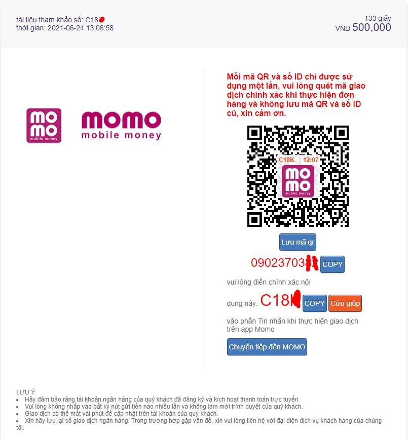 Sử dụng QR Code Momopay để thanh toán lệnh gửi tiền nhà cái M88