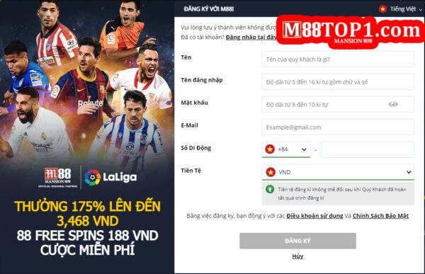 Đăng ký tài khoản M88 dễ dàng