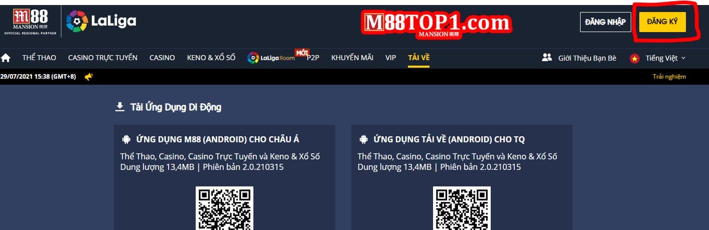 Nút đăng ký M88 màu vàng trên góc màn hình