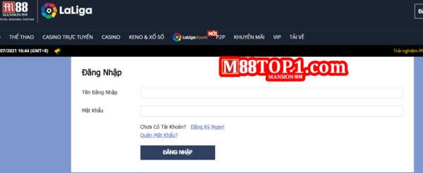 Tiến hành đăng nhập nhà cái M88