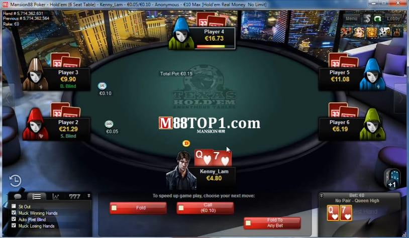 Giao diện game bài Poker hấp dẫn